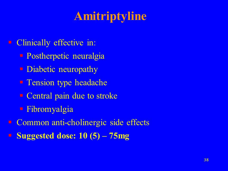 Amitriptyline Clinically effective in: Postherpetic neuralgia