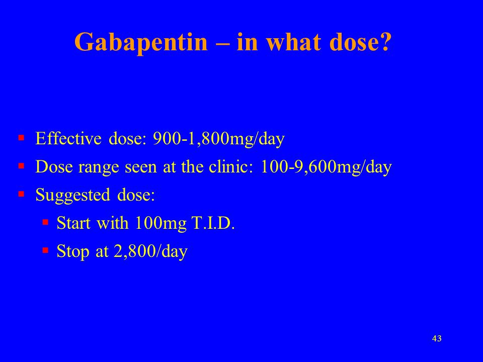 Gabapentin – in what dose