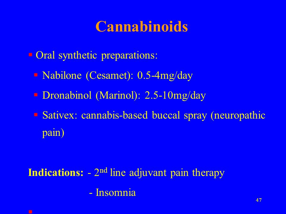 Cannabinoids Oral synthetic preparations: