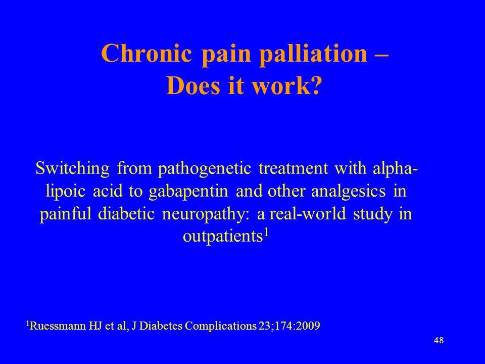 Chronic pain palliation – Does it work