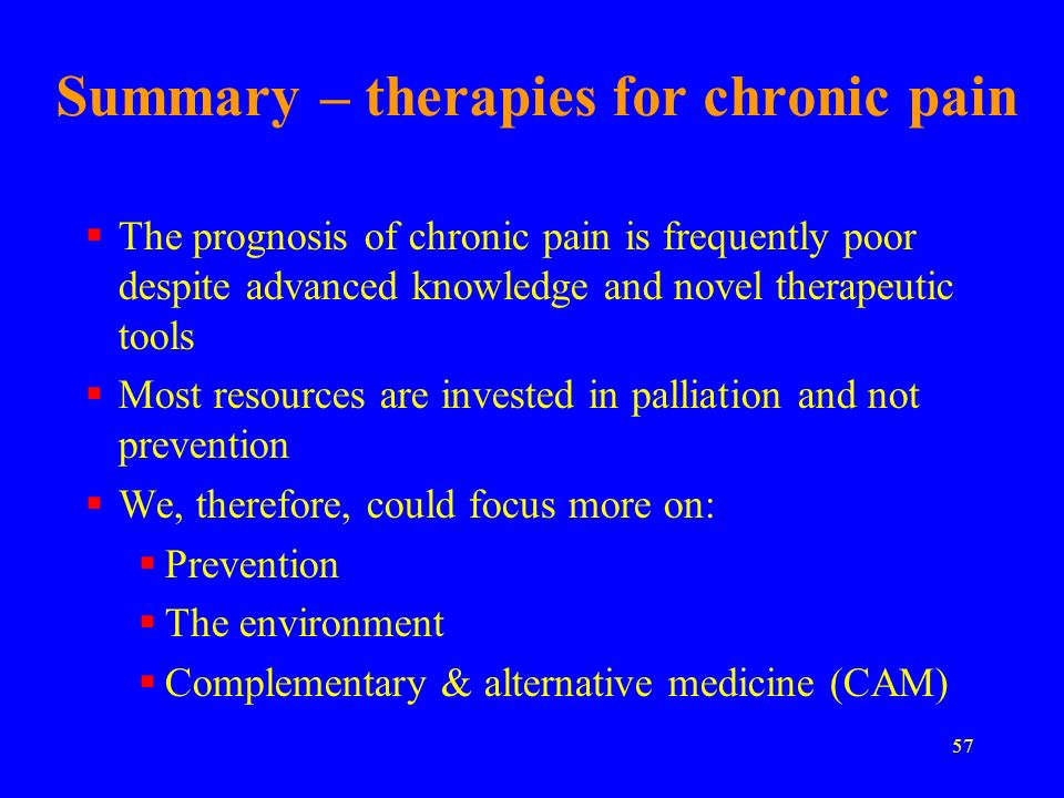 Summary – therapies for chronic pain