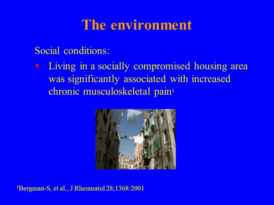The environment Social conditions: