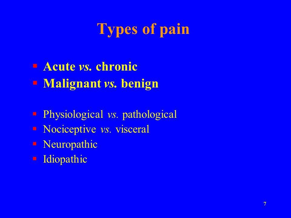 Types of pain Acute vs. chronic Malignant vs. benign