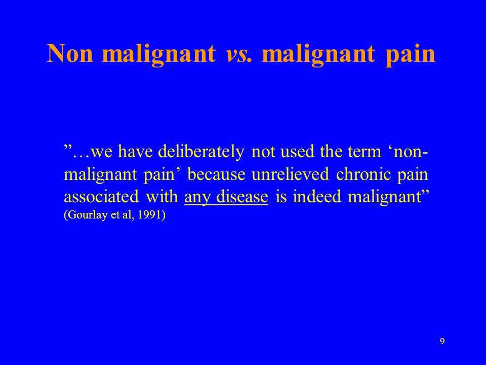 Non malignant vs. malignant pain