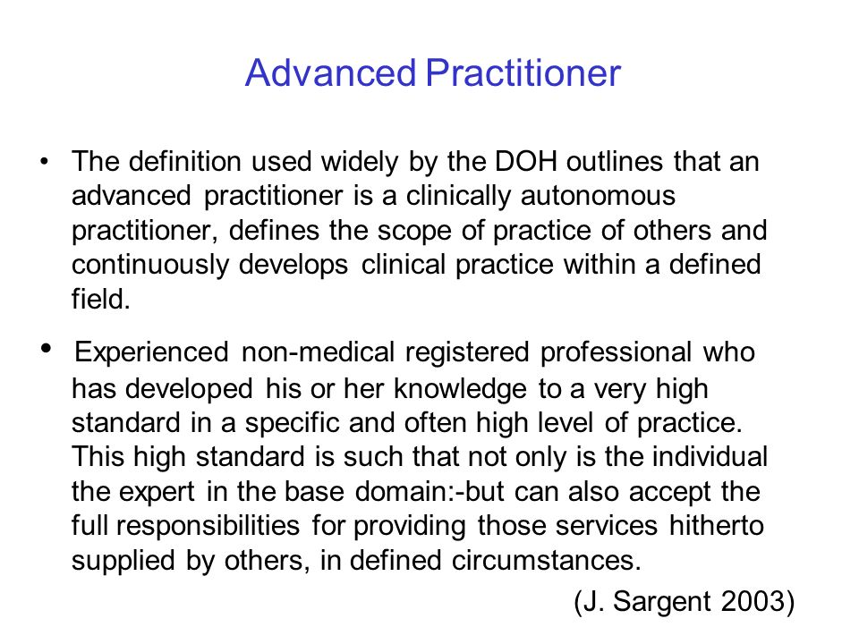Advanced Practitioner