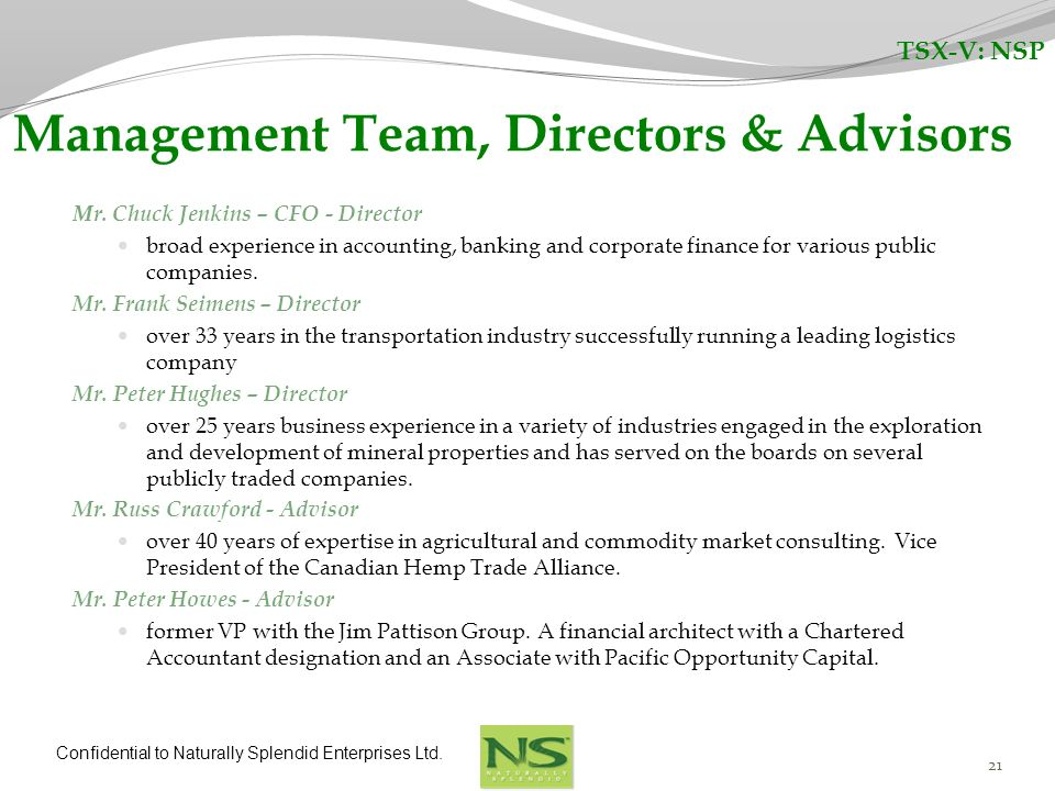 Management Team, Directors & Advisors