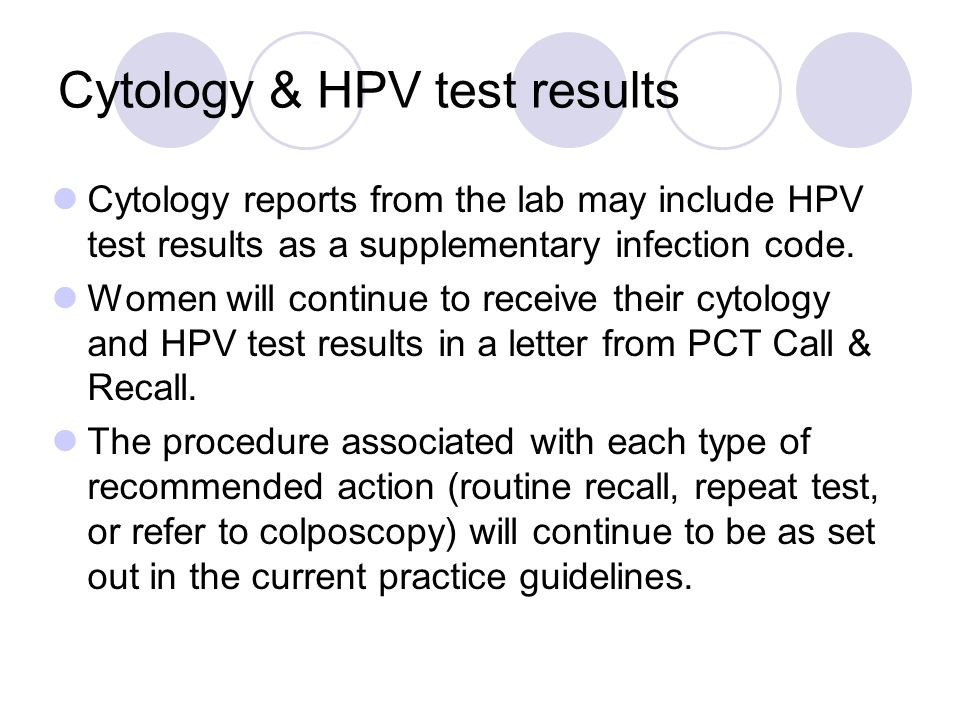 Cytology & HPV test results