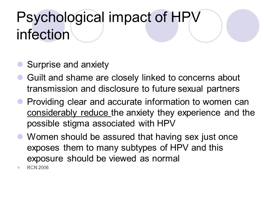 Psychological impact of HPV infection