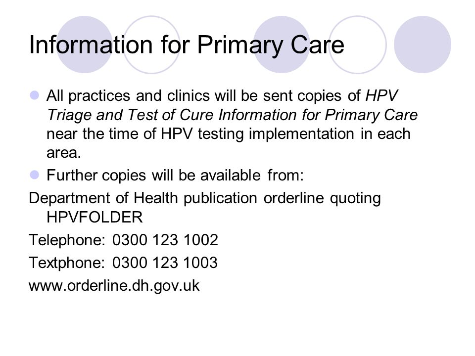 Information for Primary Care
