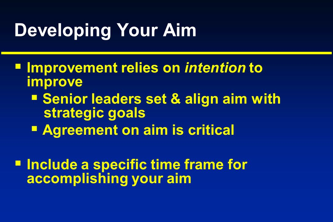 Developing Your Aim Improvement relies on intention to improve