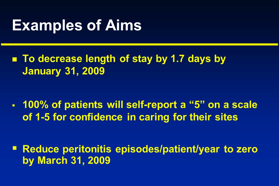Examples of AimsTo decrease length of stay by 1.7 days by January 31, 2009.