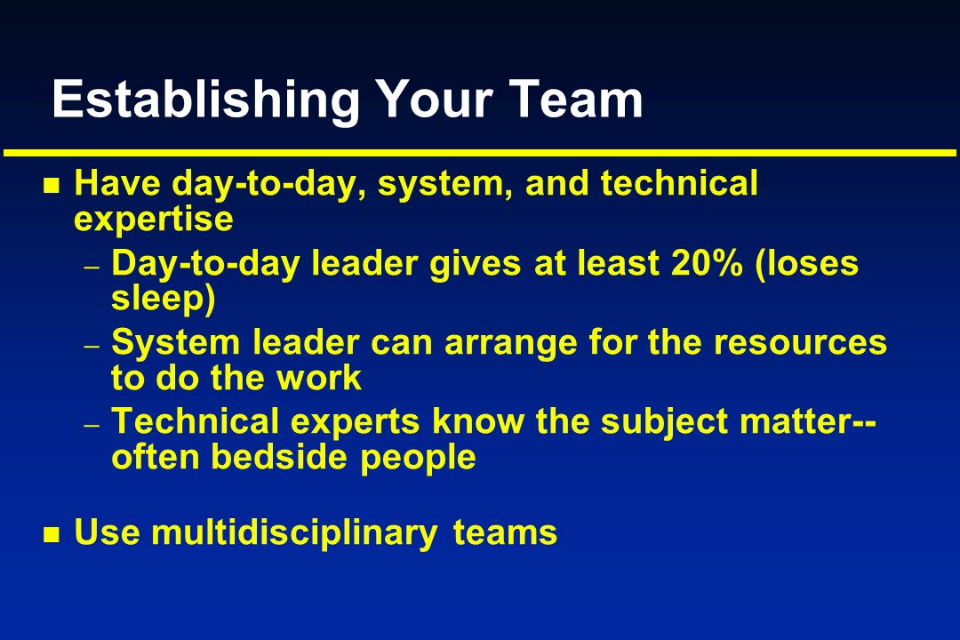 Establishing Your Team