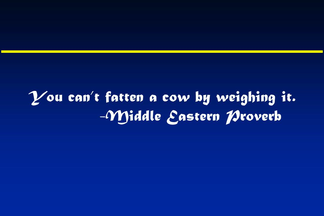 You can't fatten a cow by weighing it. -Middle Eastern Proverb