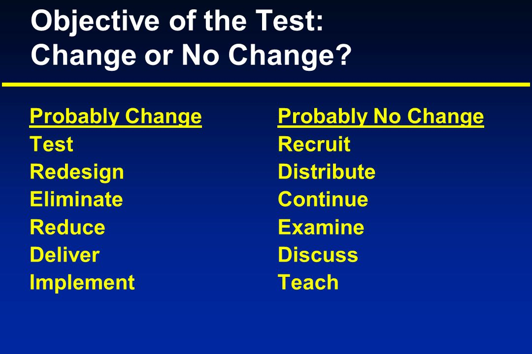 Objective of the Test: Change or No Change