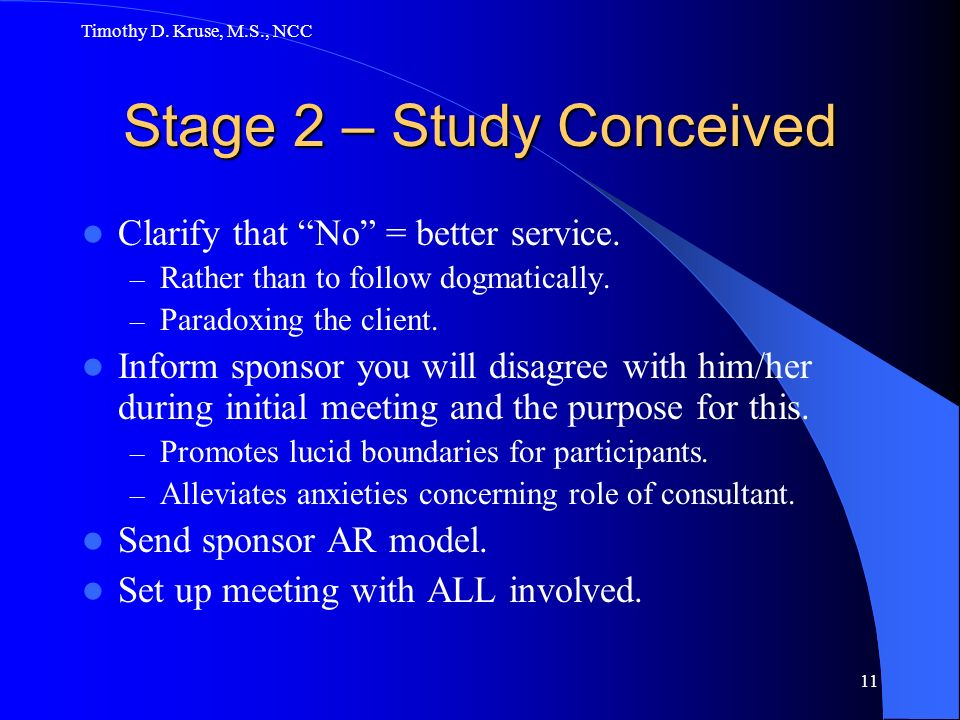 Stage 2 – Study Conceived