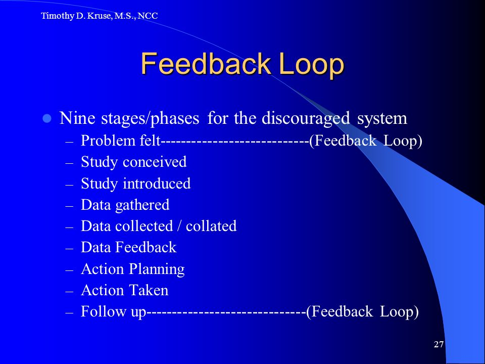 Feedback Loop Nine stages/phases for the discouraged system