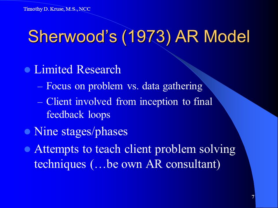 Sherwood's (1973) AR Model Limited Research Nine stages/phases