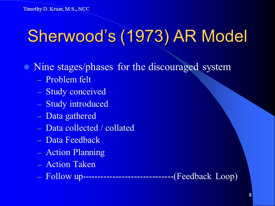 Timothy D. Kruse, M.S., NCC Sherwood's (1973) AR Model. Nine stages/phases for the discouraged system.