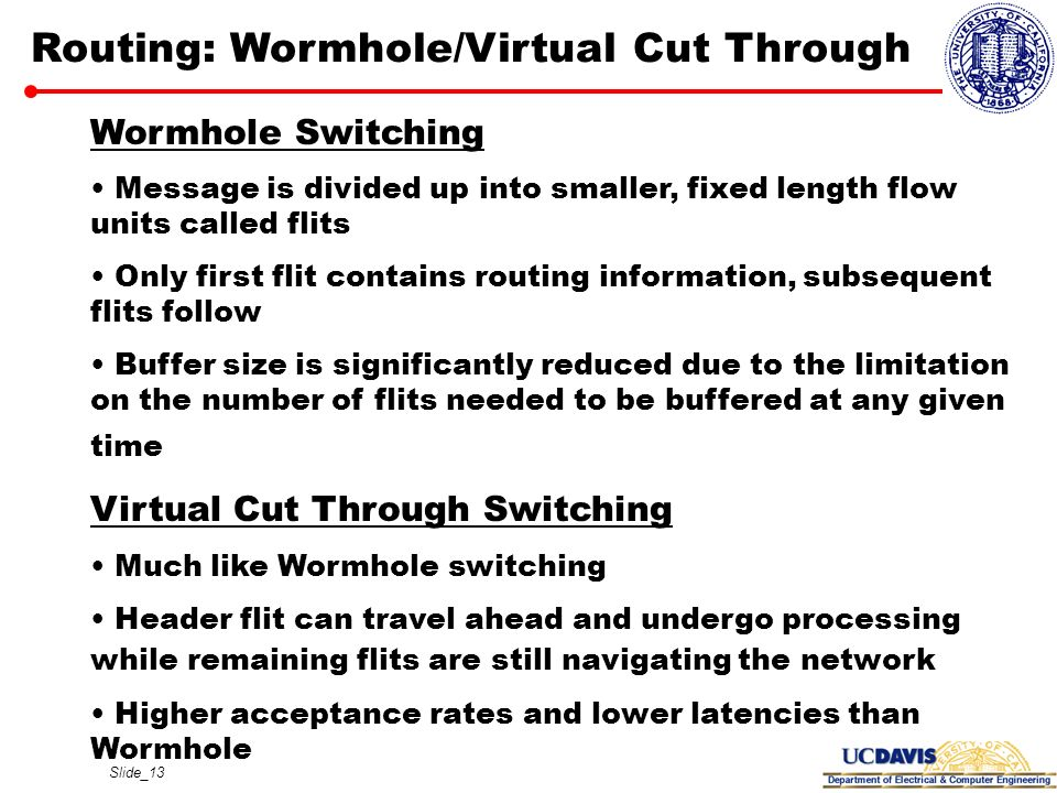 Routing: Wormhole/Virtual Cut Through