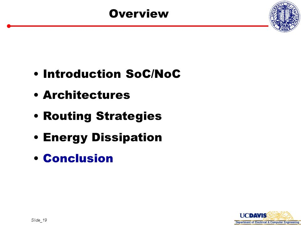 Overview Introduction SoC/NoC Architectures Routing Strategies