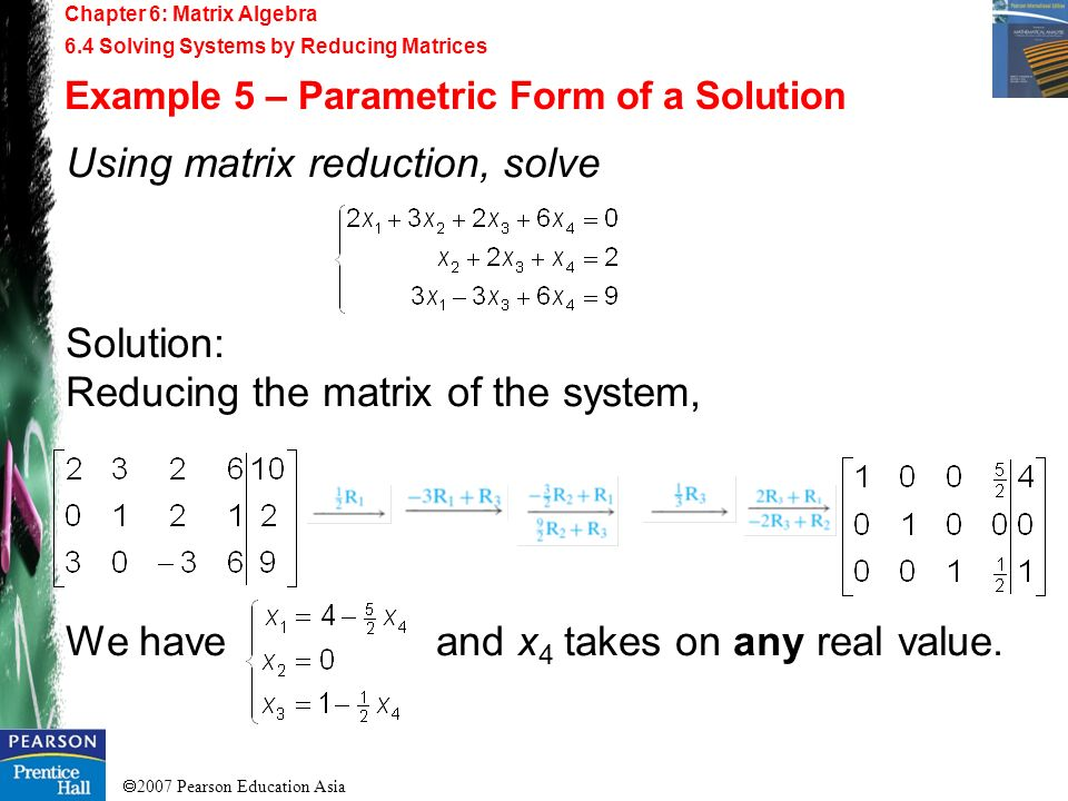 Using matrix reduction, solve