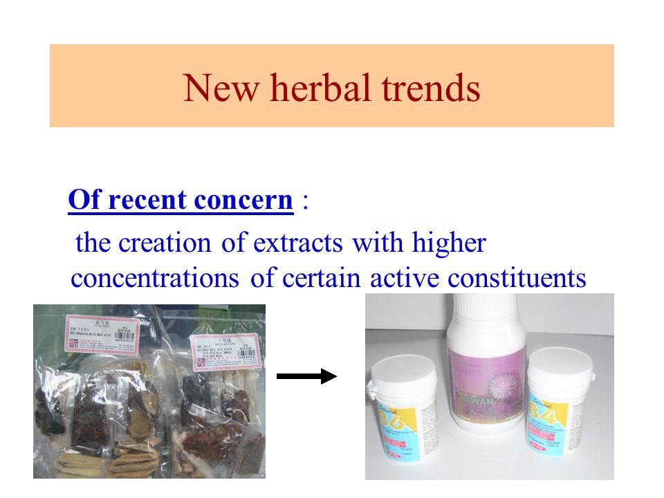 New herbal trends Of recent concern :
