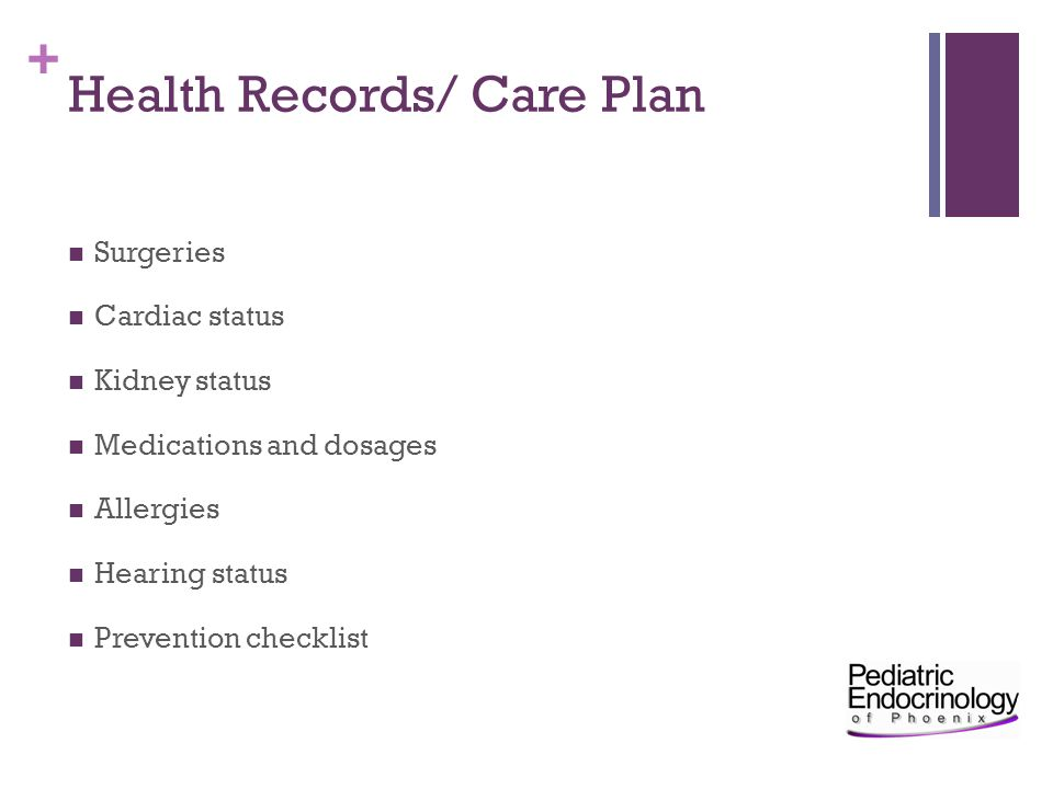 Health Records/ Care Plan