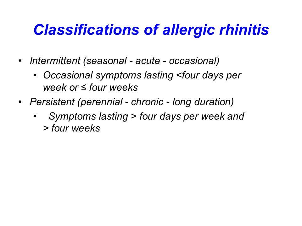 Classifications of allergic rhinitis