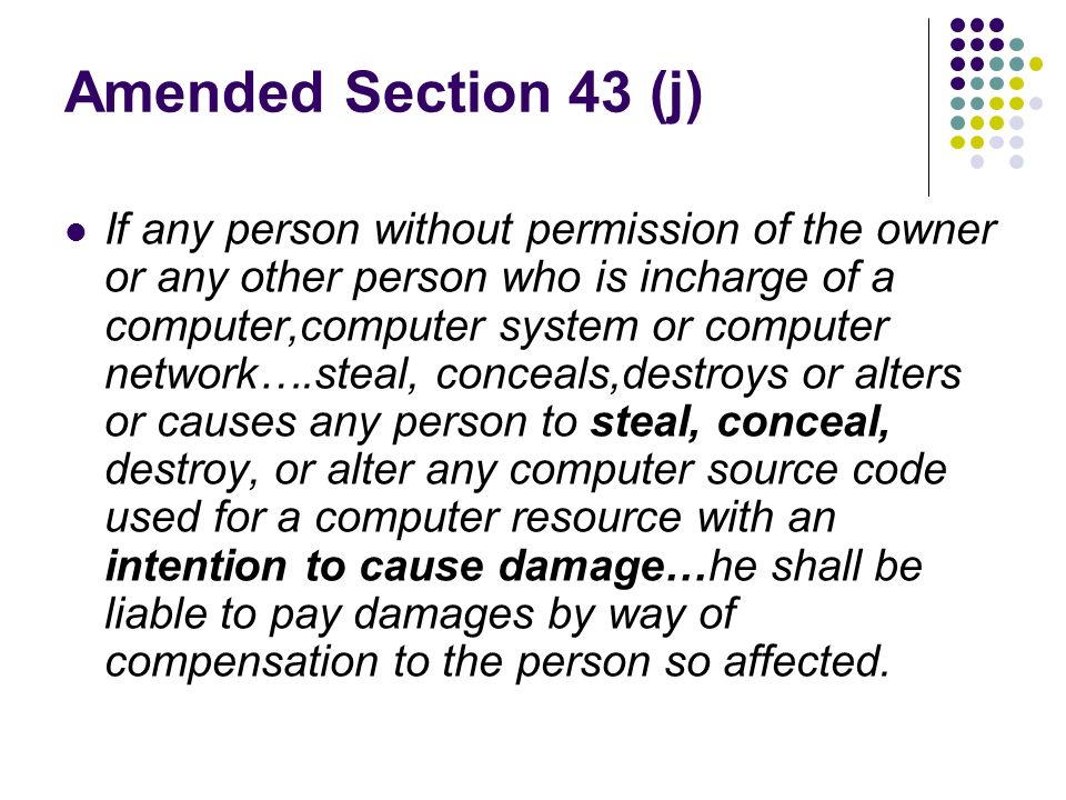 Amended Section 43 (j)