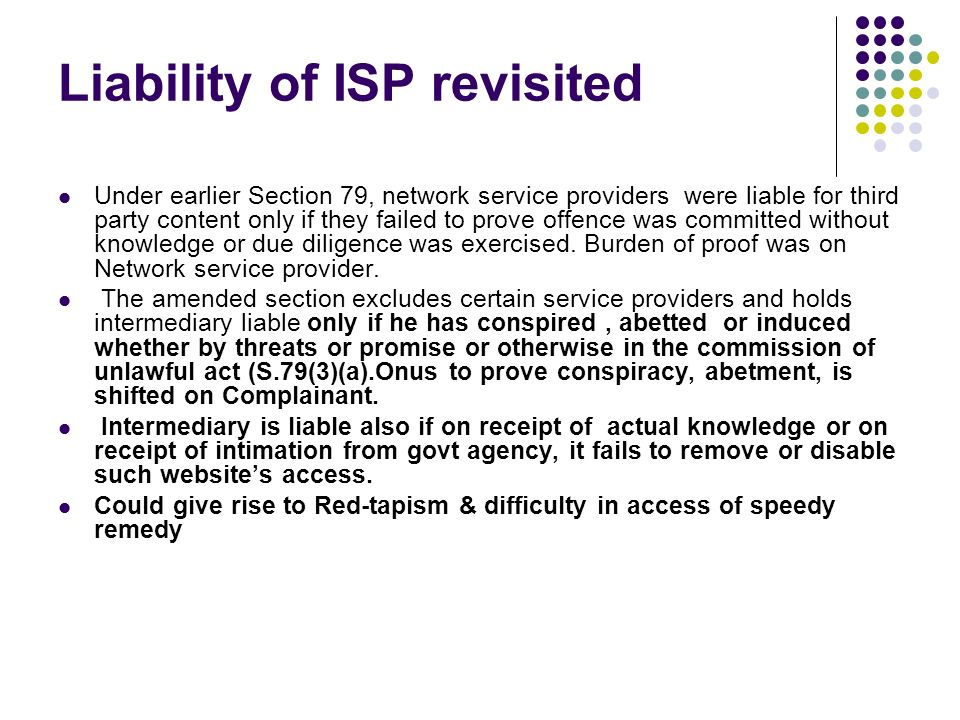Liability of ISP revisited