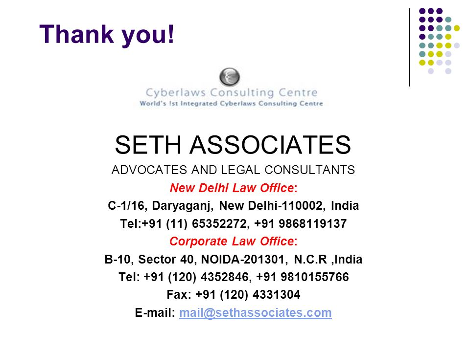 Thank you! SETH ASSOCIATES ADVOCATES AND LEGAL CONSULTANTS