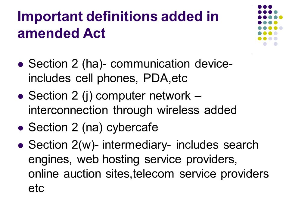 Important definitions added in amended Act