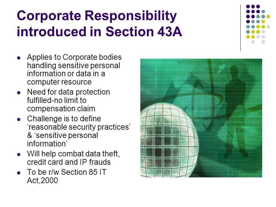 Corporate Responsibility introduced in Section 43A