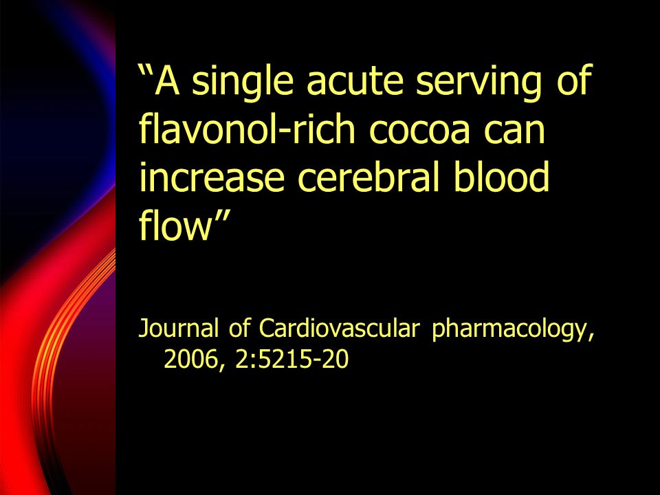 A single acute serving of flavonol-rich cocoa can increase cerebral blood flow