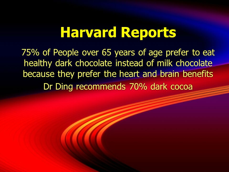 Dr Ding recommends 70% dark cocoa