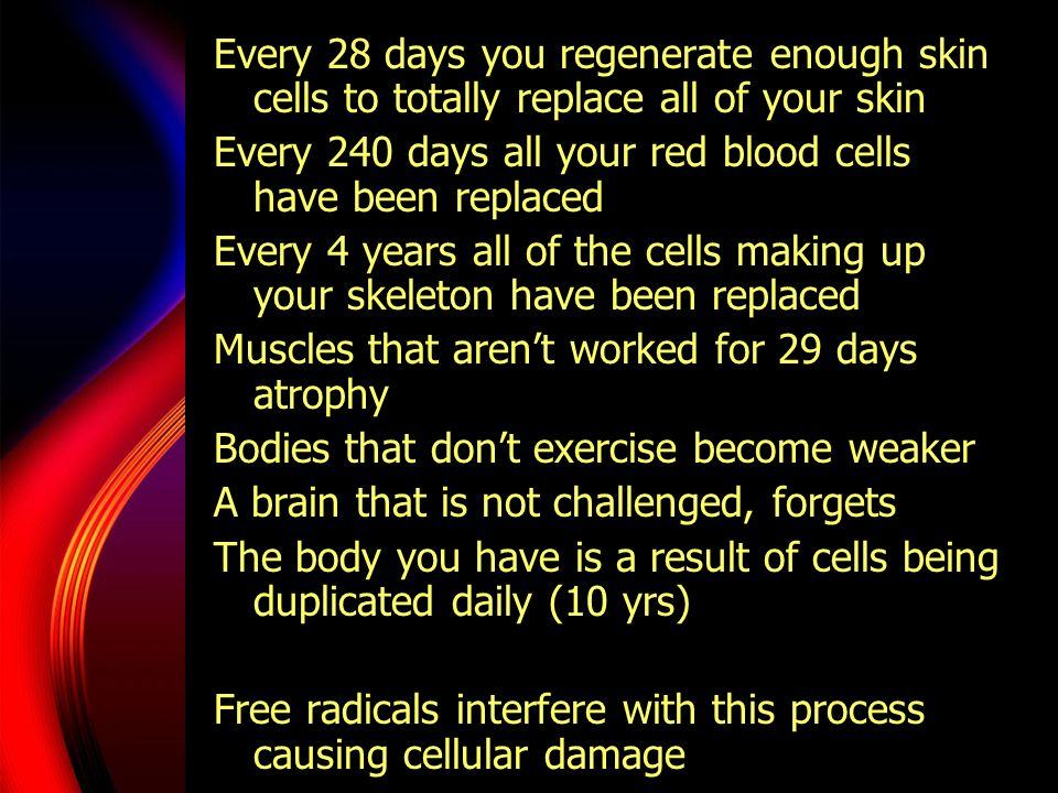Every 28 days you regenerate enough skin cells to totally replace all of your skin