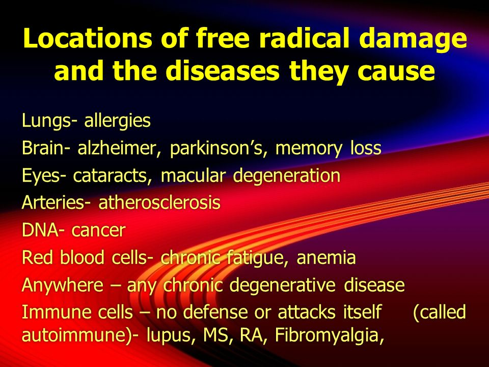 Locations of free radical damage and the diseases they cause