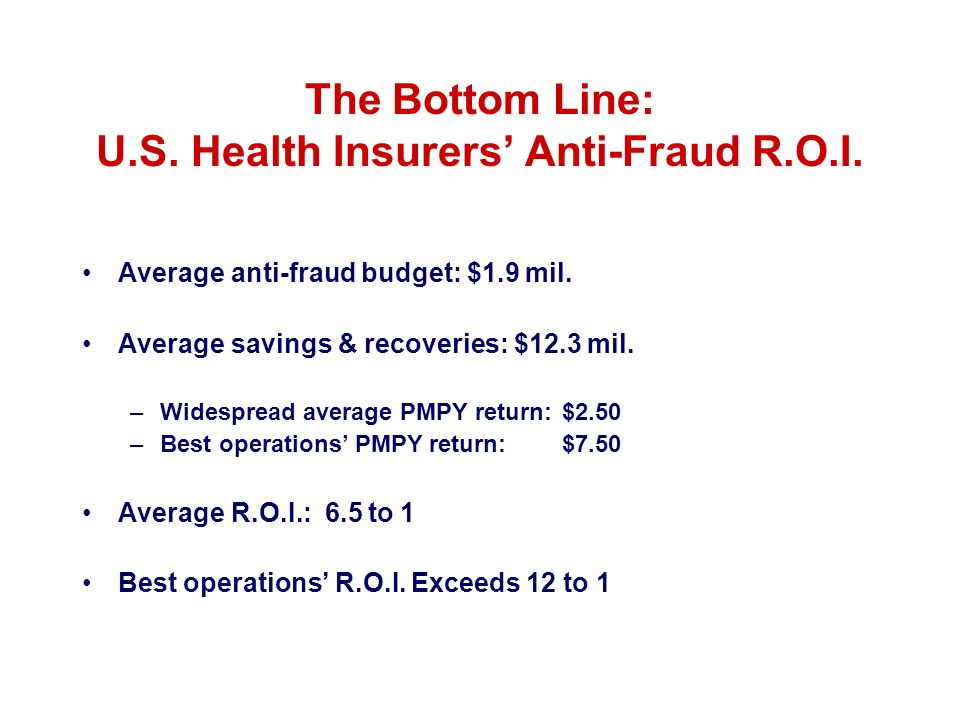 The Bottom Line: U.S. Health Insurers' Anti-Fraud R.O.I.