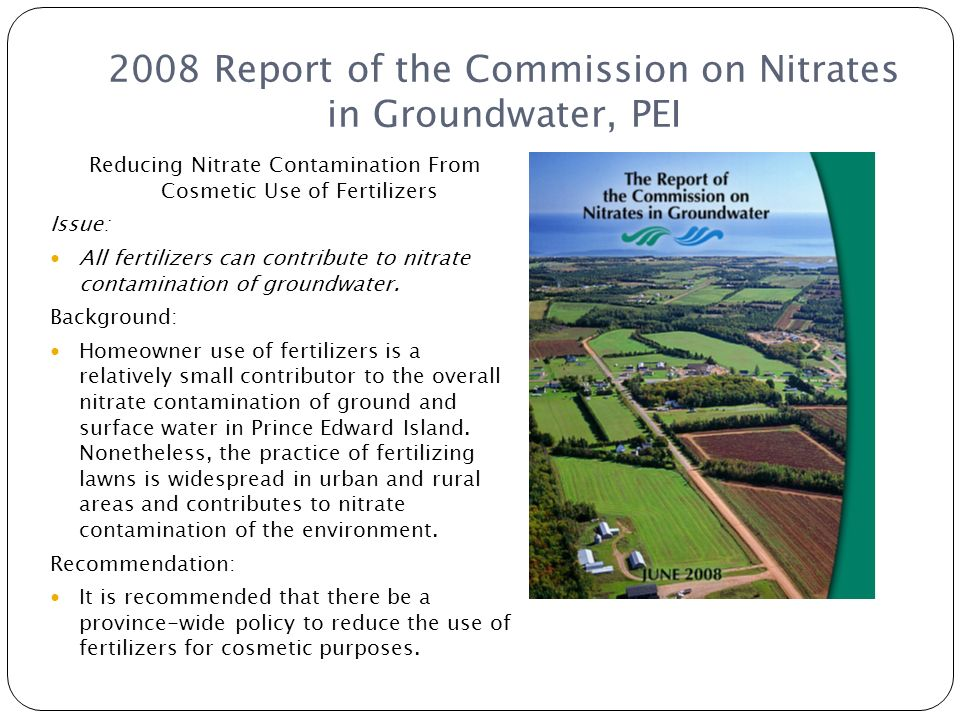 2008 Report of the Commission on Nitrates in Groundwater, PEI