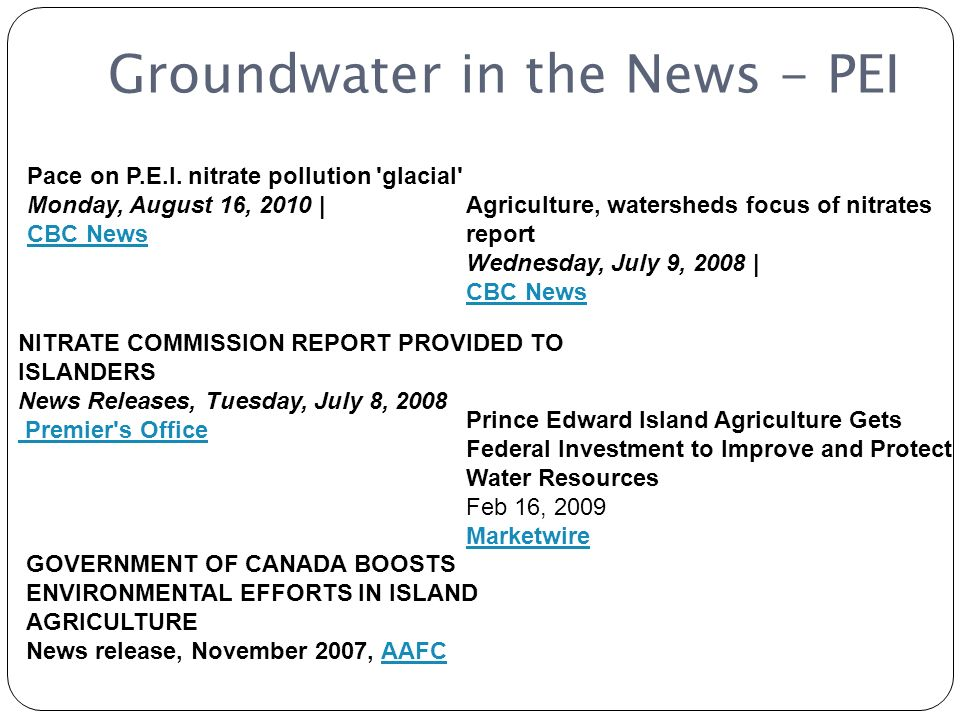 Groundwater in the News - PEI