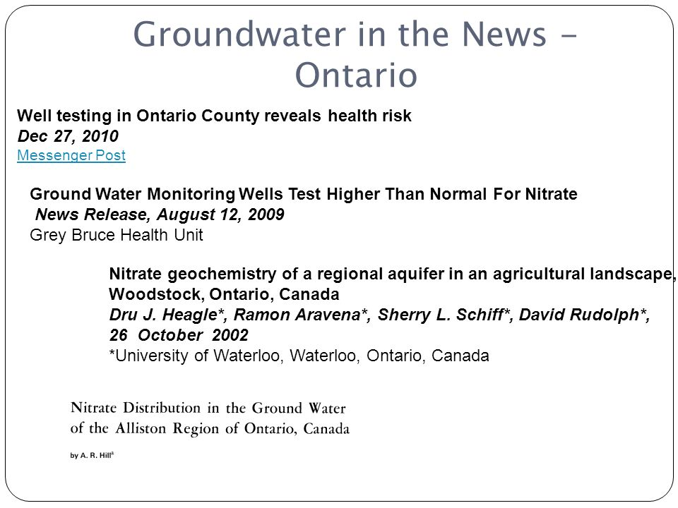 Groundwater in the News - Ontario