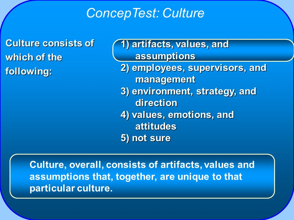 ConcepTest: Culture Culture consists of which of the following: