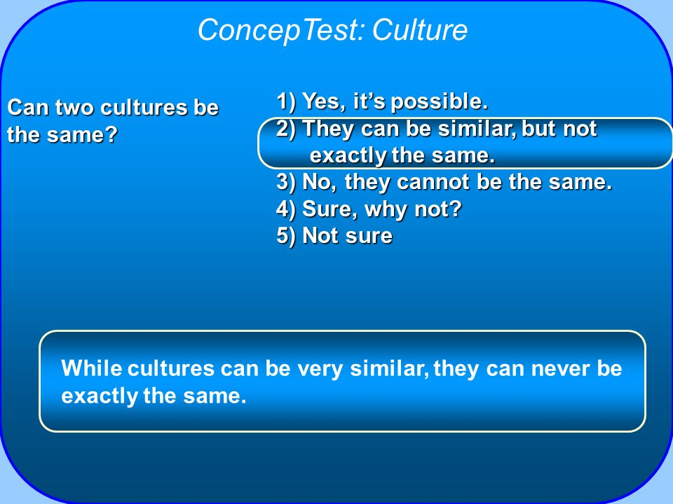 ConcepTest: Culture 1) Yes, it's possible.