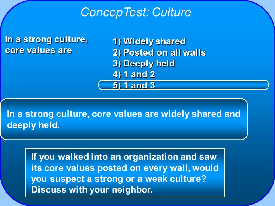 ConcepTest: Culture In a strong culture, core values are