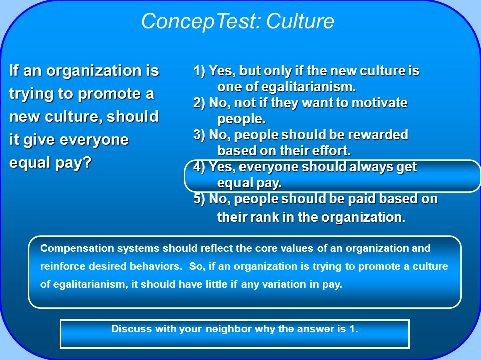 ConcepTest: Culture If an organization is trying to promote a new culture, should it give everyone equal pay
