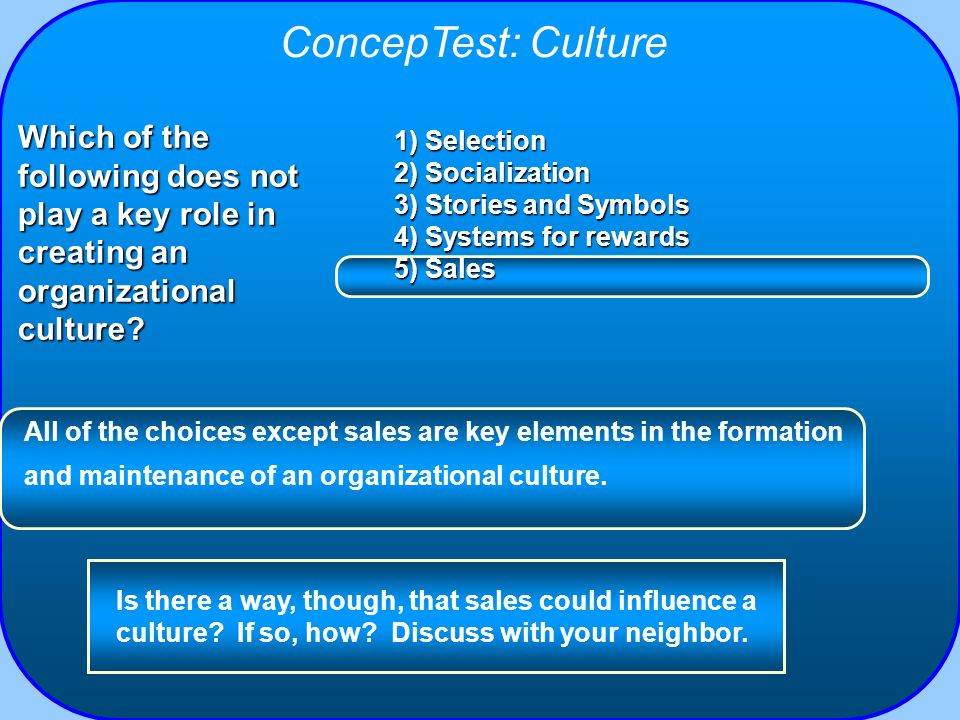 ConcepTest: Culture Which of the following does not play a key role in creating an organizational culture