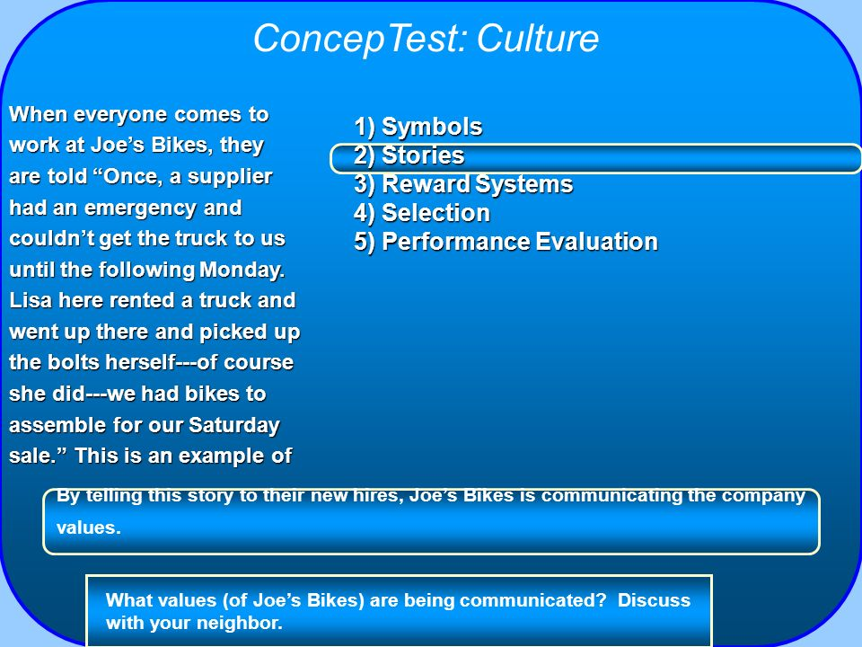 ConcepTest: Culture 1) Symbols 2) Stories 3) Reward Systems