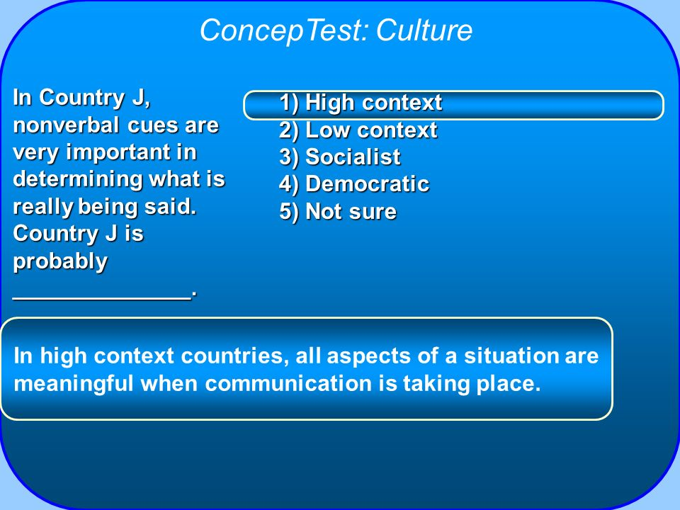 ConcepTest: Culture In Country J, nonverbal cues are very important in determining what is really being said. Country J is probably ______________.