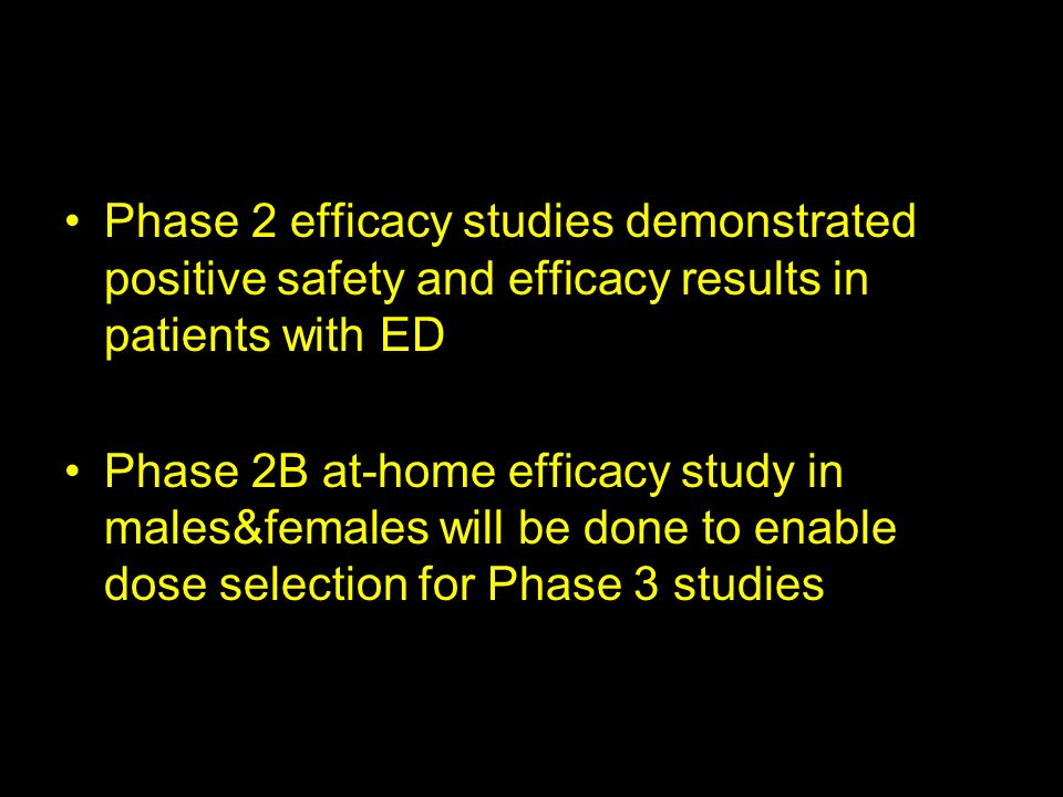 Phase 2 efficacy studies demonstrated positive safety and efficacy results in patients with ED