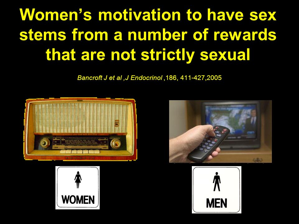 Women's motivation to have sex stems from a number of rewards that are not strictly sexual Bancroft J et al ,J Endocrinol ,186, 411-427,2005